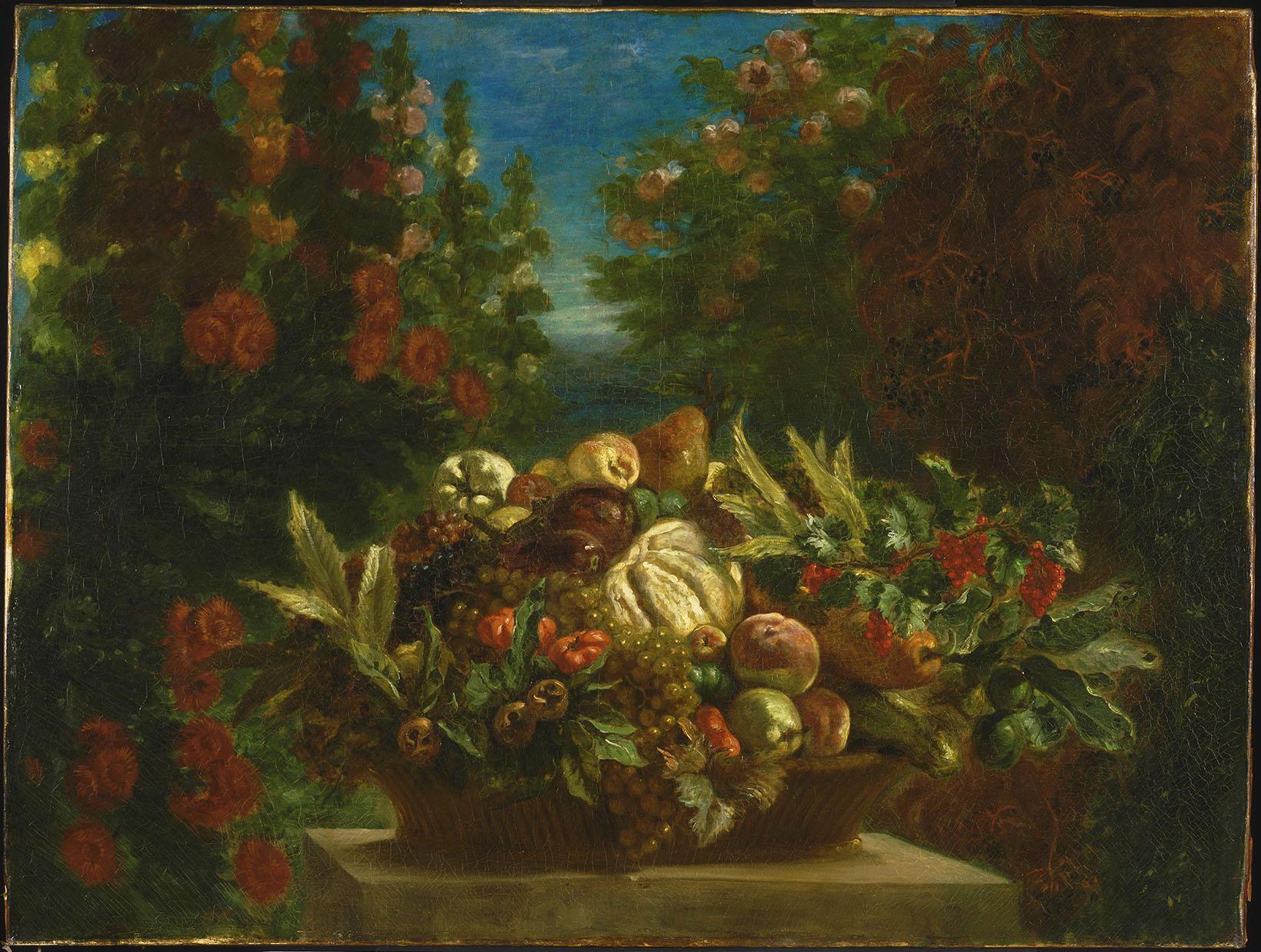 Эжен Делакруа (Eugene Delacroix) - A Basket of Fruit in a Flower Garden, 1848-1849