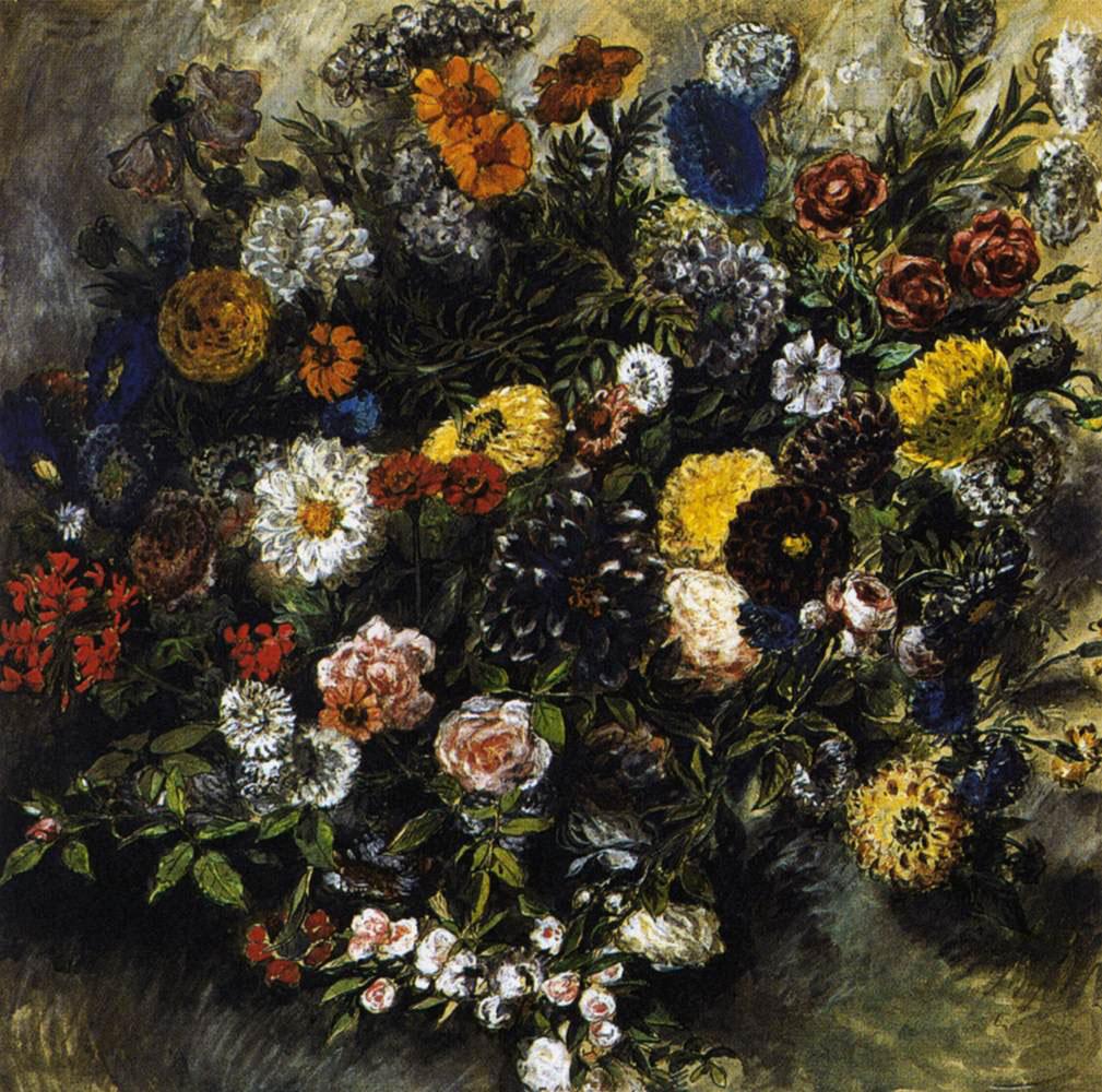 Делакруа Delacroix букет цветов Bouquet of Flowers акварель Альберт Сафиуллин