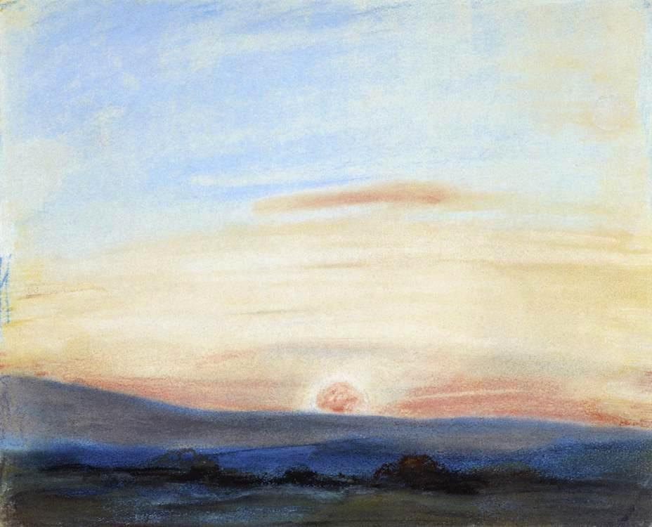 Делакруа Delacroix рисунок Sky Setting Sun пастель пейзажи природы Альберт Сафиуллин