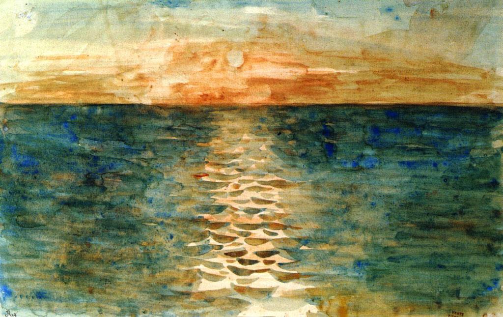 Делакруа Delacroix акварель Sunset on the Sea морской пейзаж Альберт Сафиуллин