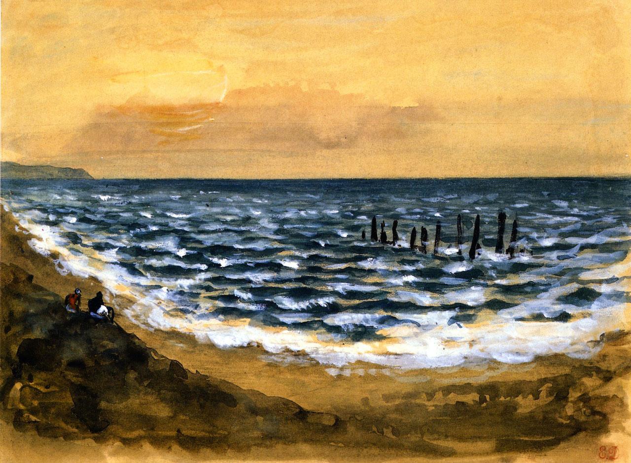 Делакруа Delacroix акварель The Sea at Dieppe морской пейзаж Альберт Сафиуллин