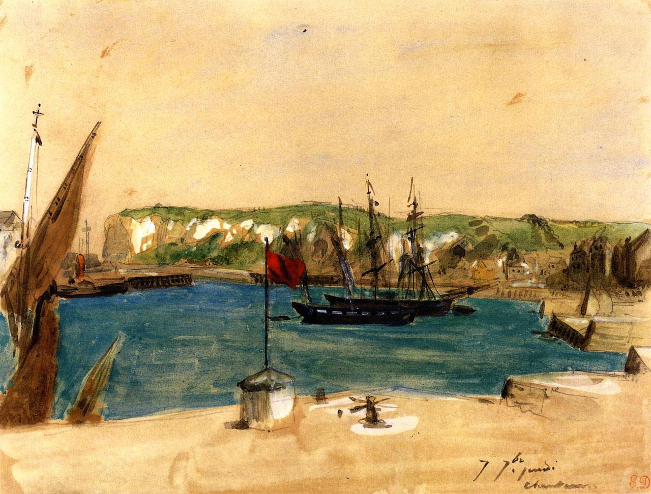 Делакруа Delacroix акварель View of the Port of Dieppe морской пейзаж Альберт Сафиуллин