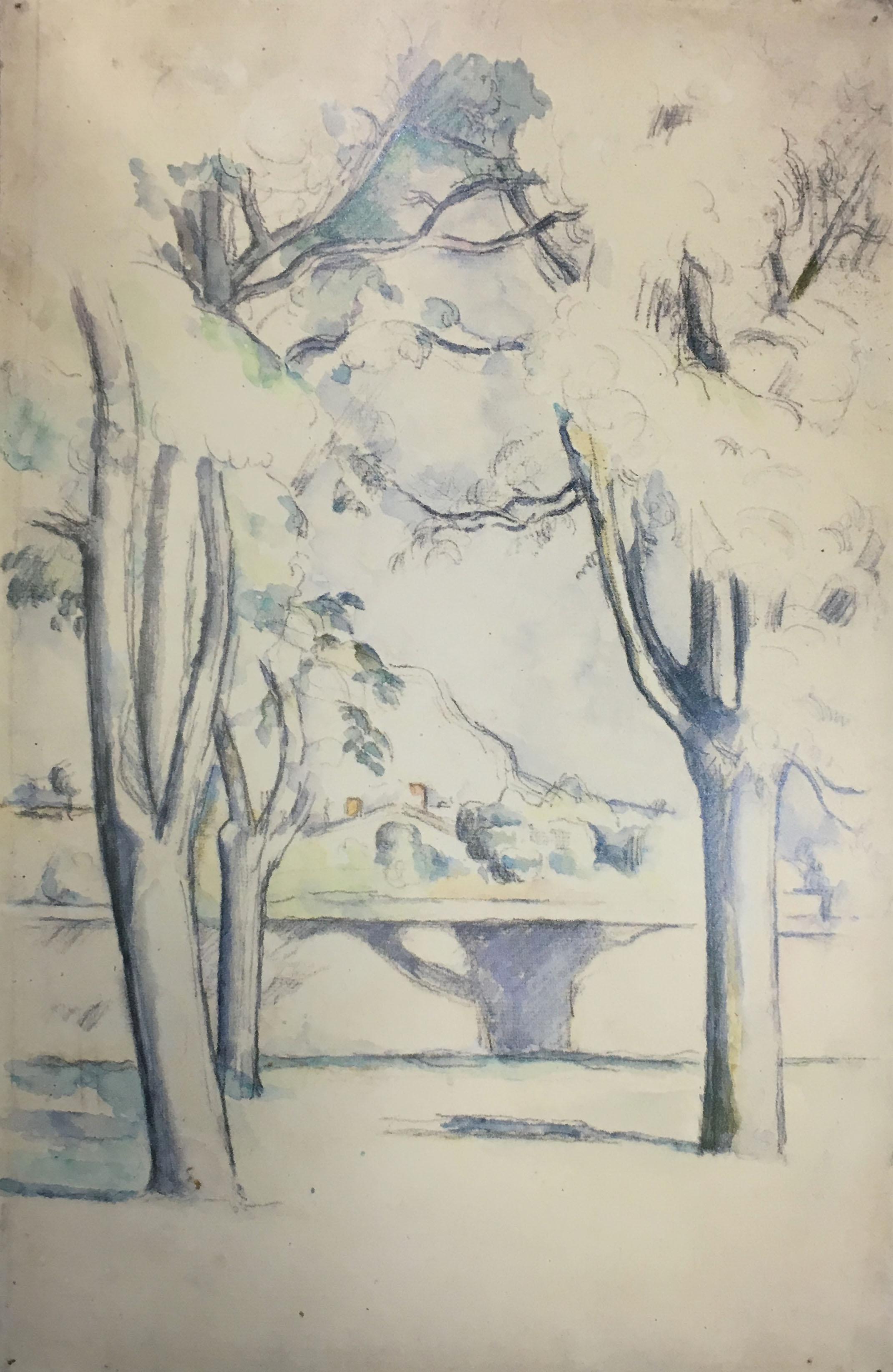 Сезанн акварель гора Saint Victoire пейзажи природы Альберт Сафиуллин