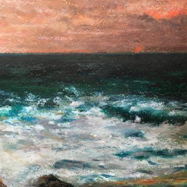 Средиземное море масляной пастелью