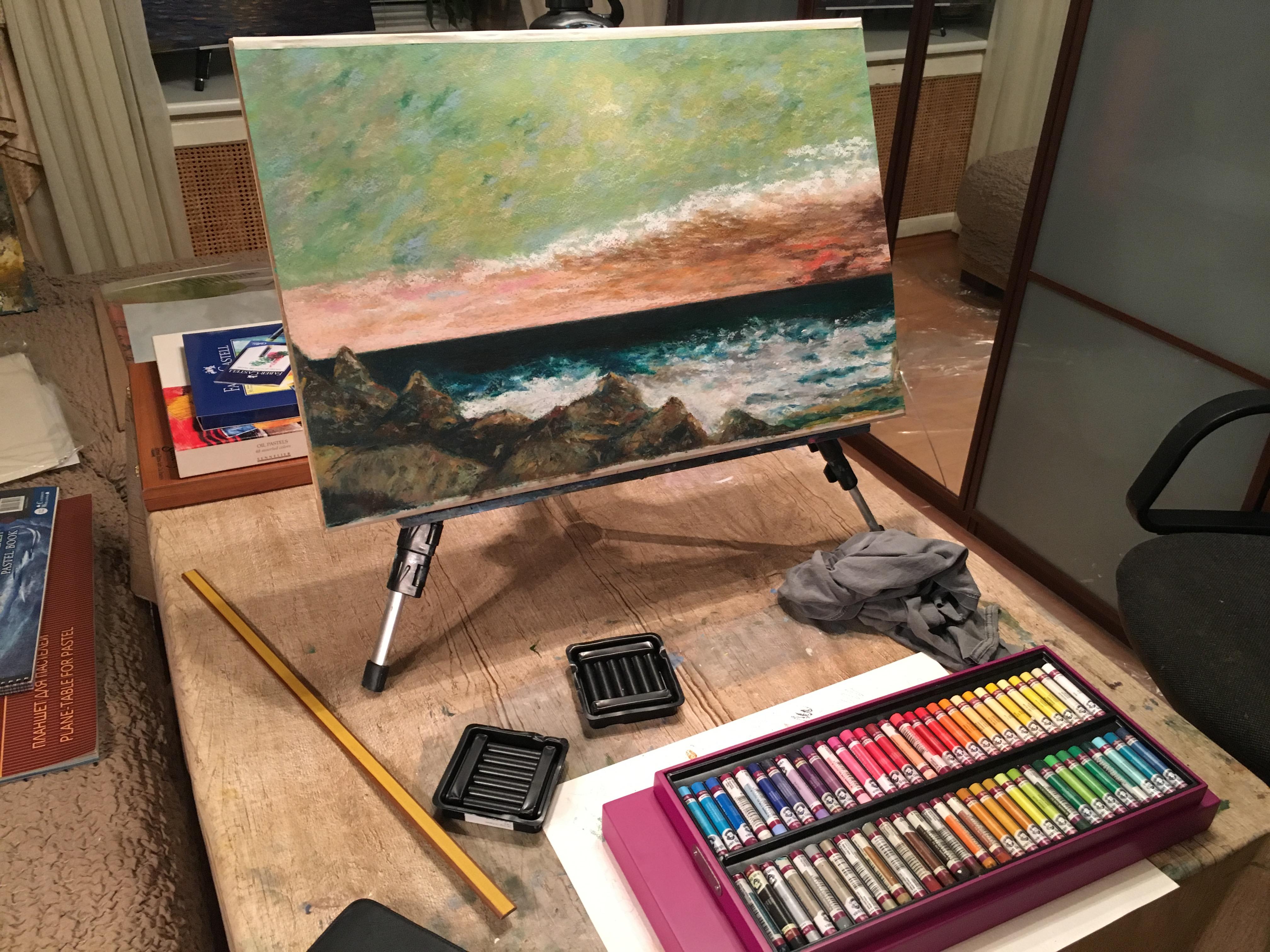 Художник Альберт Сафиуллин картина Средиземное море пастель пейзажи природы
