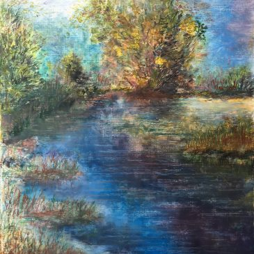 Речной пейзаж — этюд с деревом