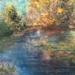 речной пейзаж рисунок масляная пастель художник Альберт Сафиуллин