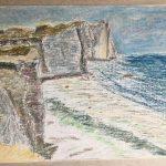 Морской пейзаж скалы Этрета Etretat La Porte d'Aval отлив Бретань картина масляная пастель художник Альберт Сафиуллин painting Albert Safiullin
