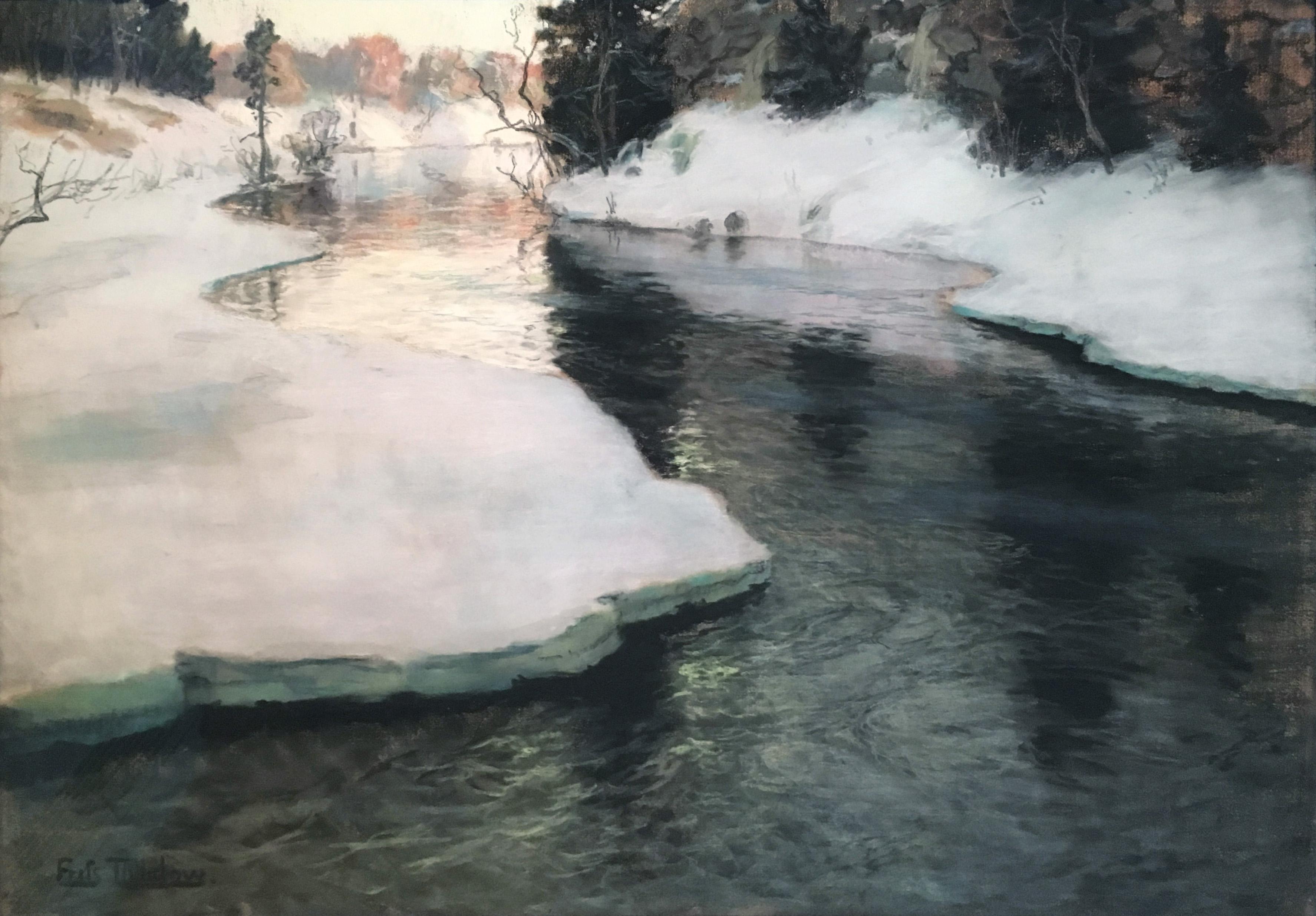 Речной пейзаж paysage river landscape painting Таулов Thaulow пастель Альберт Сафиуллин