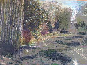 Пейзаж пруд Живерни кувшинки картина масляная пастель импрессионизм художник Альберт Сафиуллин