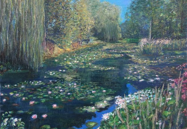 Пейзаж пруд Живерни Giverny кувшинки картина масляная пастель импрессионизм художник Альберт Сафиуллин
