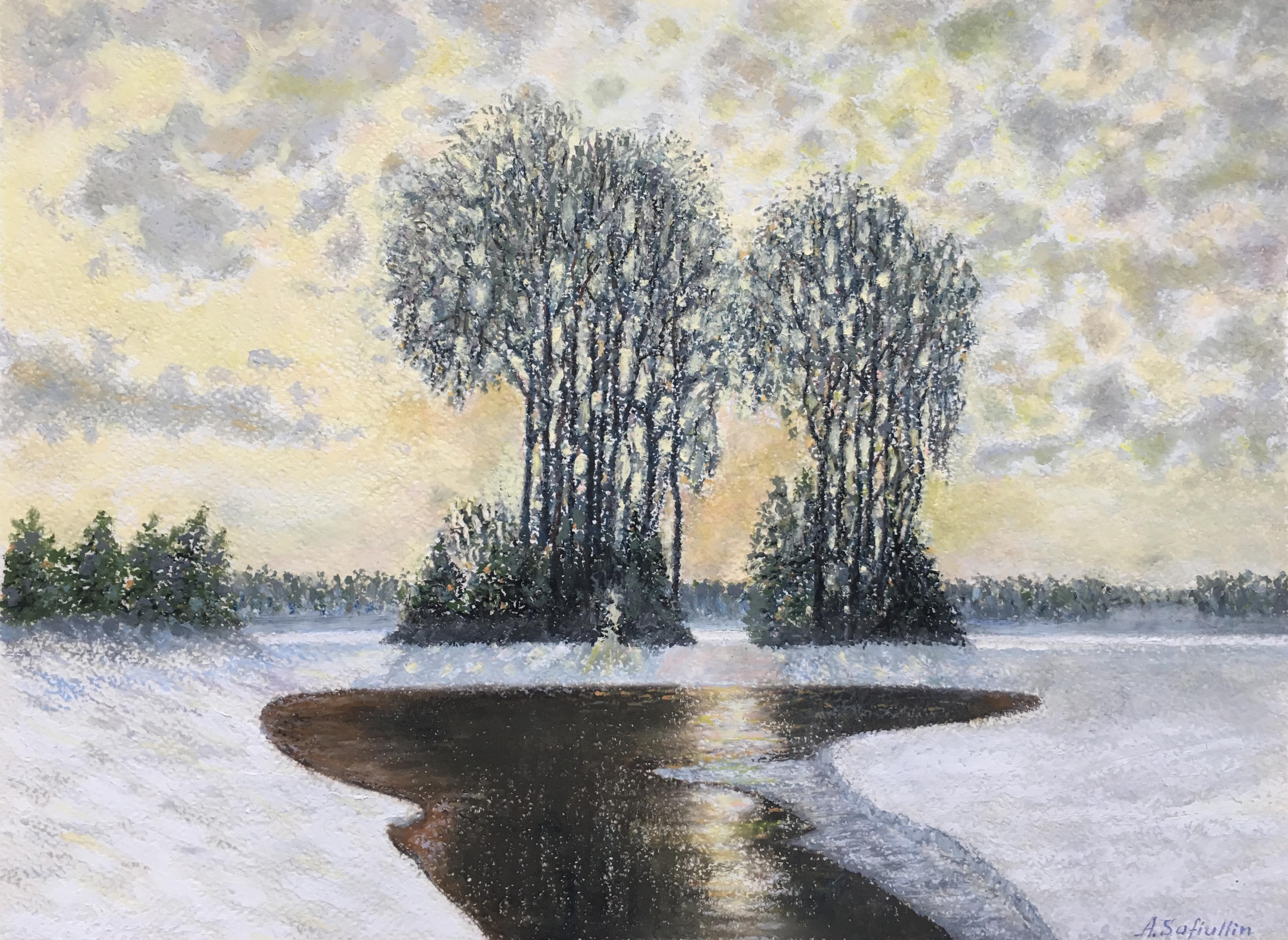 Зимний пейзаж весна пастель лес закат природа картина художник Альберт Сафиуллин