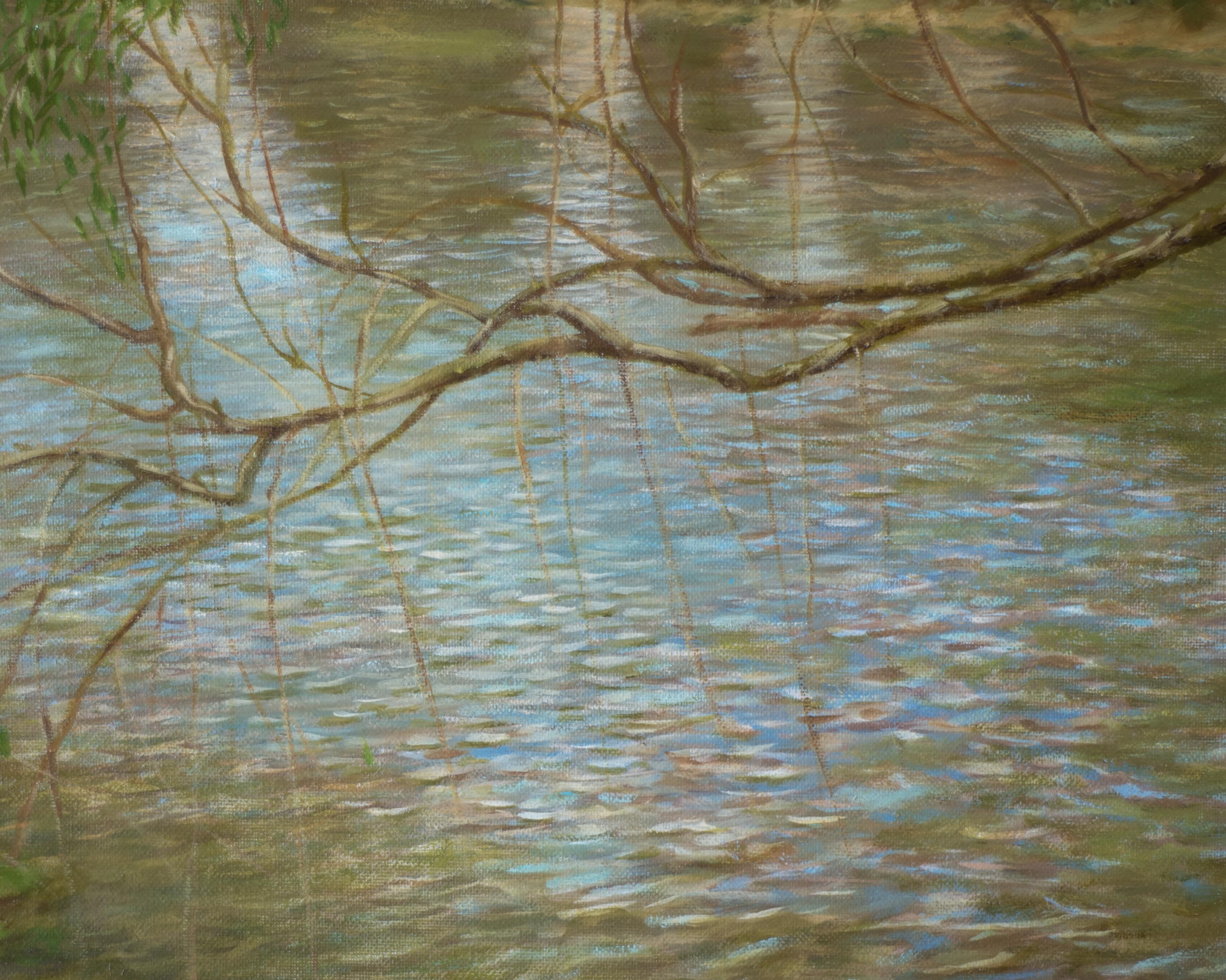 речной пейзаж кувшинки ветка картина маслом художник Альберт Сафиуллин