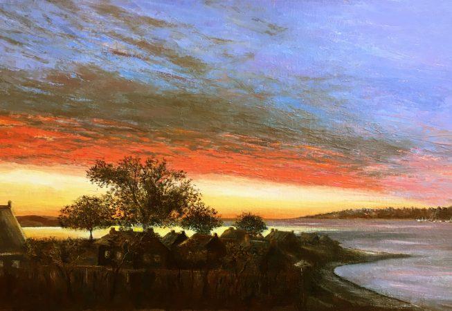 Ранний рассвет на берегу залива Морбиан в Бретани