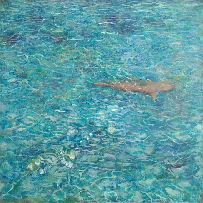 море пейзаж океан атолл Парадиз Мальдивы риф акула природа картина маслом художник Альберт Сафиуллин