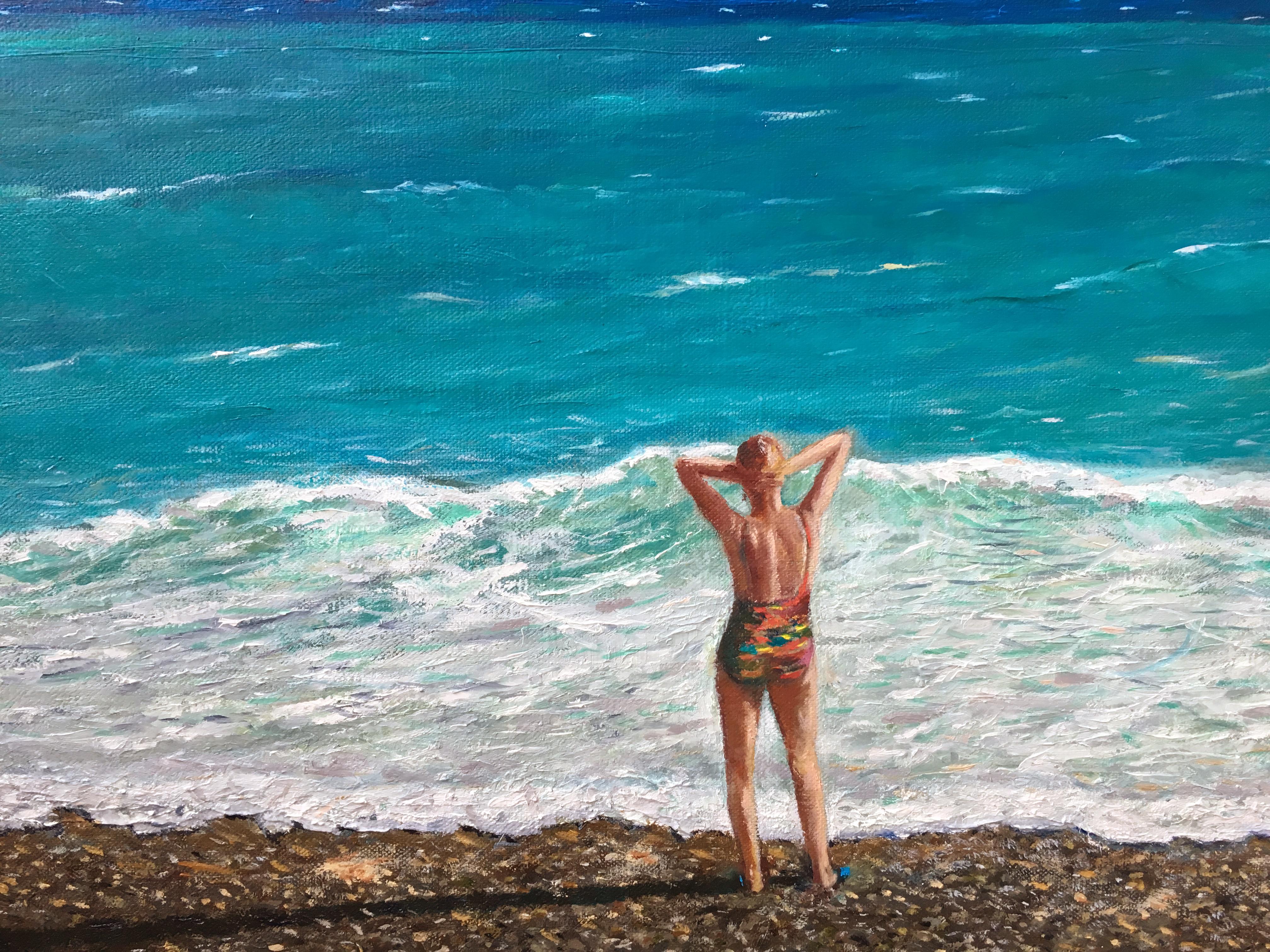 Морской пейзаж картина маслом ЛазурнМорской пейзаж картина маслом Лазурный берег Ницца художник Альберт Сафиуллиный берег Ницца художник Альберт Сафиуллин
