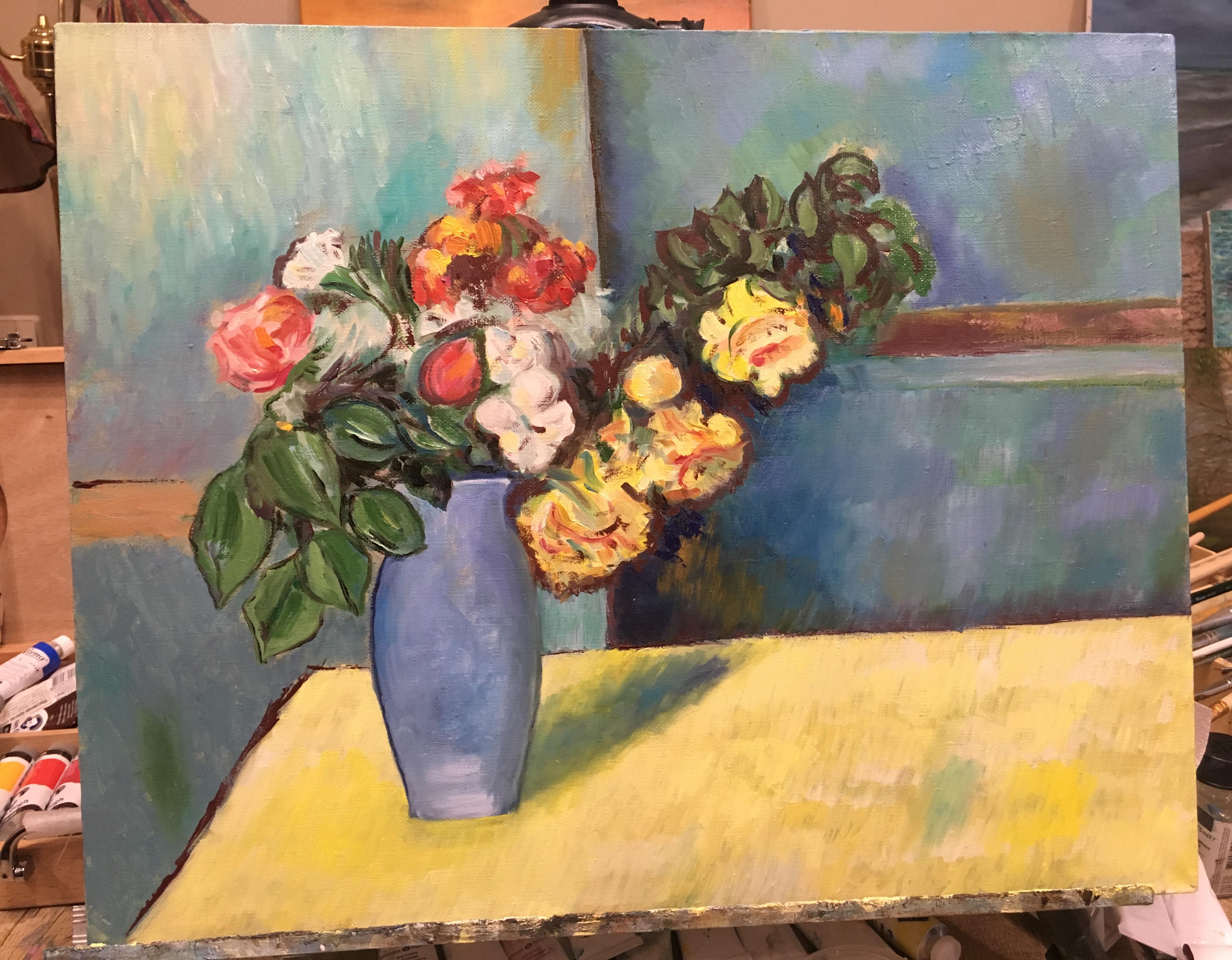 цветы букет натюрморт картина масло Сезанн пейзажи природы художник Альберт Сафиуллин