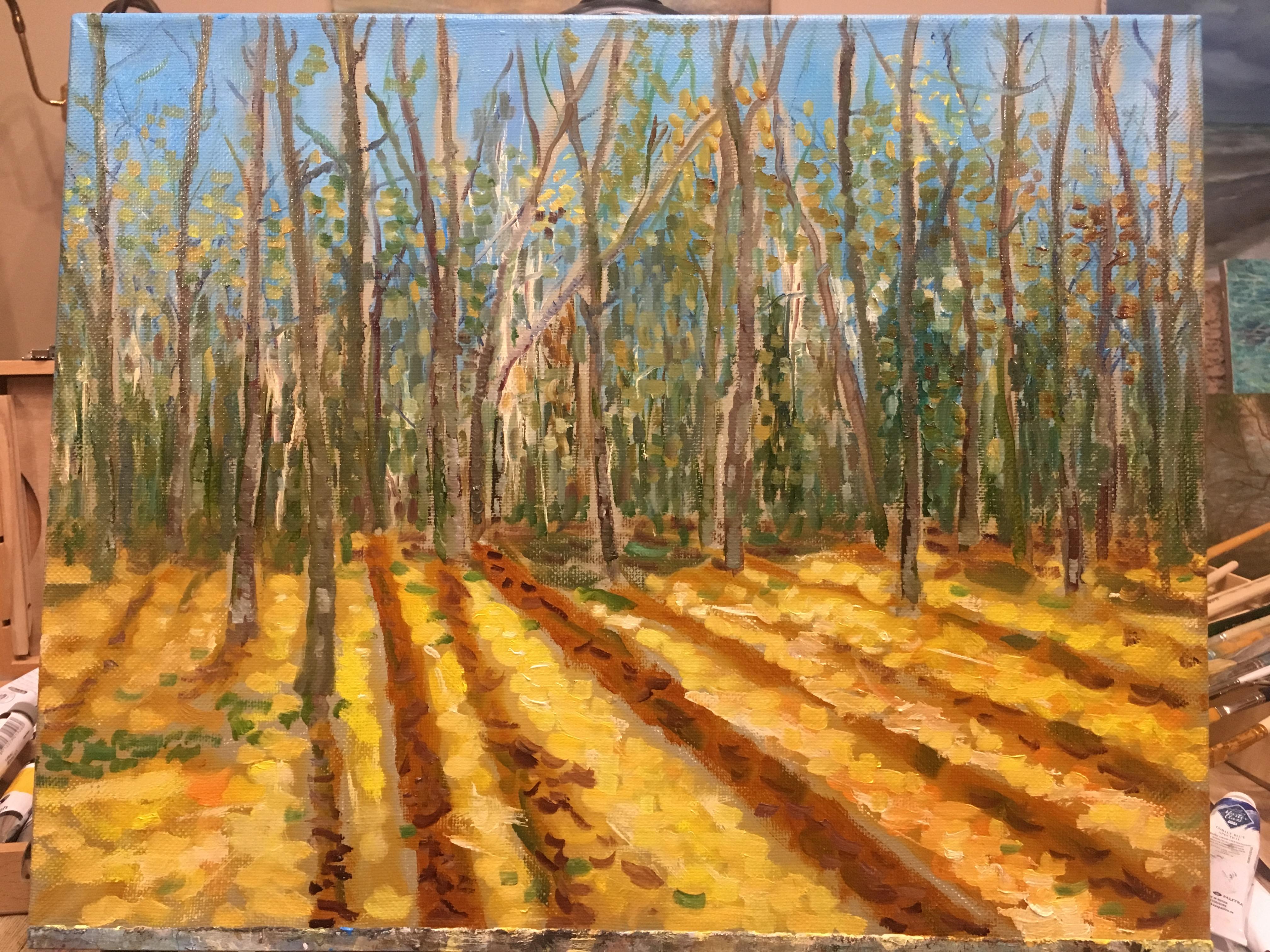 осенний пейзаж лес картина маслом покровское стрешнево художник Альберт Сафиуллин