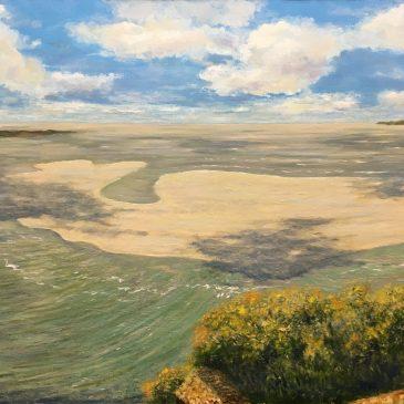 морской пейзаж нормандия прилив мон-сен-мишель картина маслом художник Альберт Сафиуллин