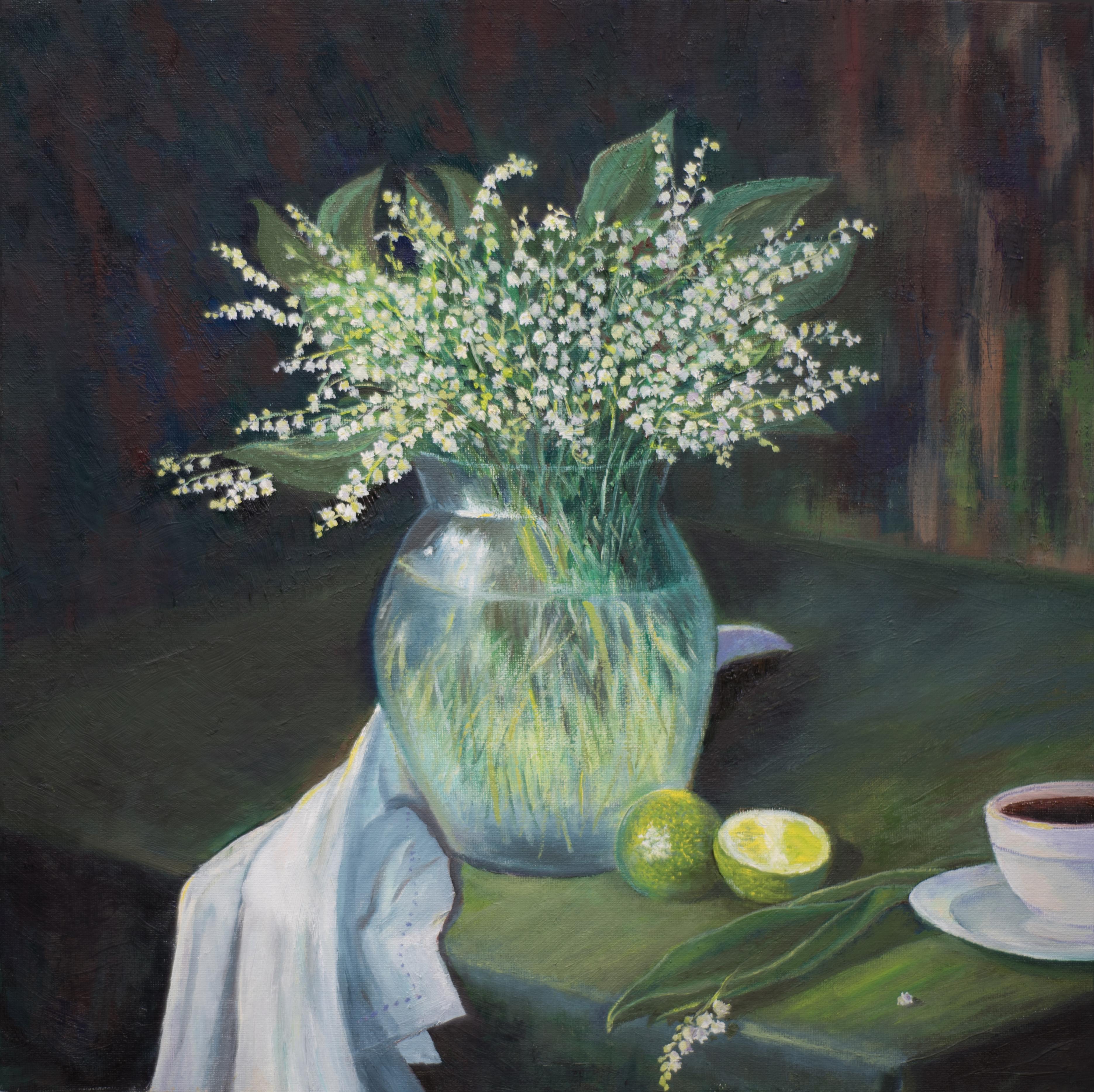 натюрморт still life картина маслом ландыши лайм художник Альберт Сафиуллин