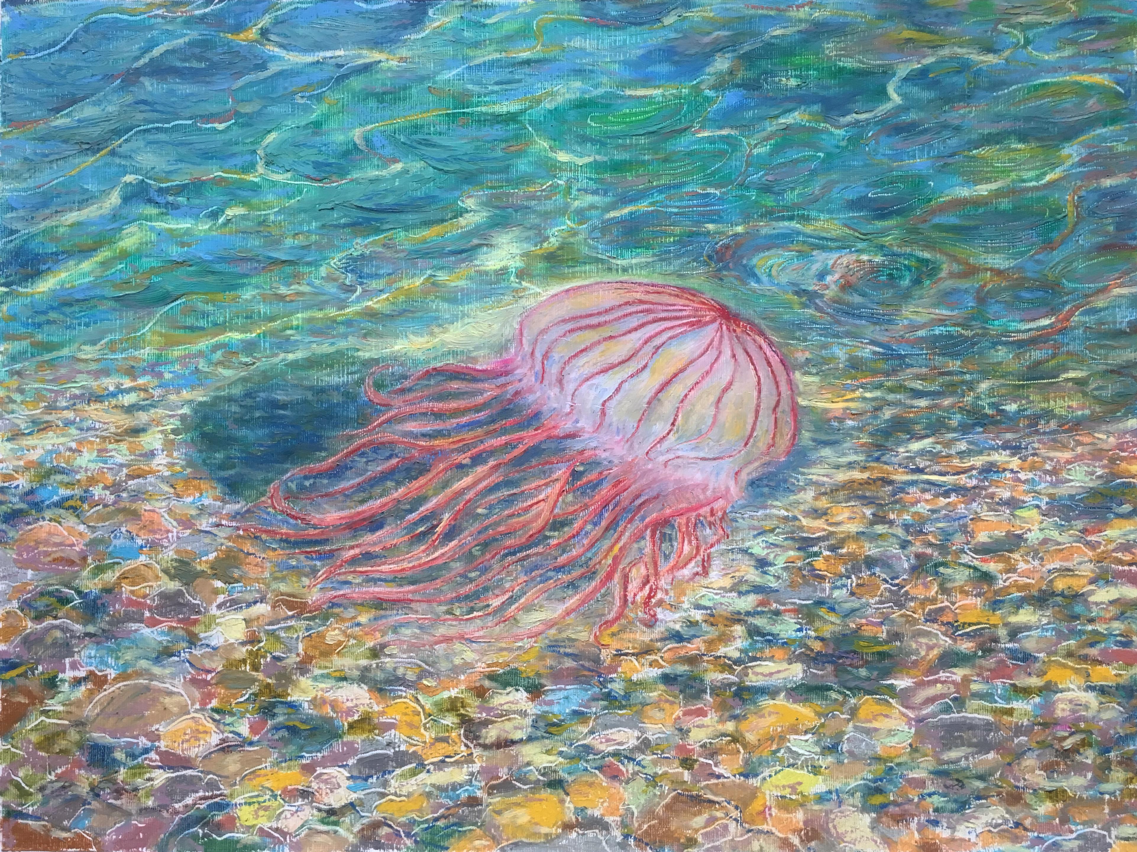медуза подводный мир море масляная пастель рисунок художник Альберт Сафиуллин