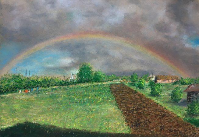 Деревенский пейзаж с радугой. Старое Барышево.