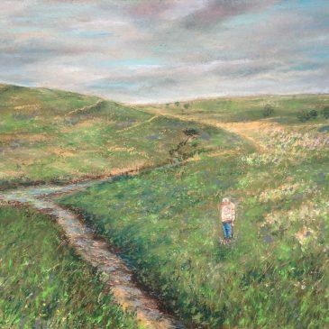 Старое Барышево деревенский пейзаж природа масляная пастель картина радуга лето художник Альберт Сафиуллин