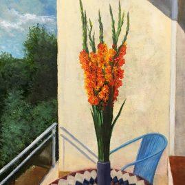 Гладиолусы на балконе