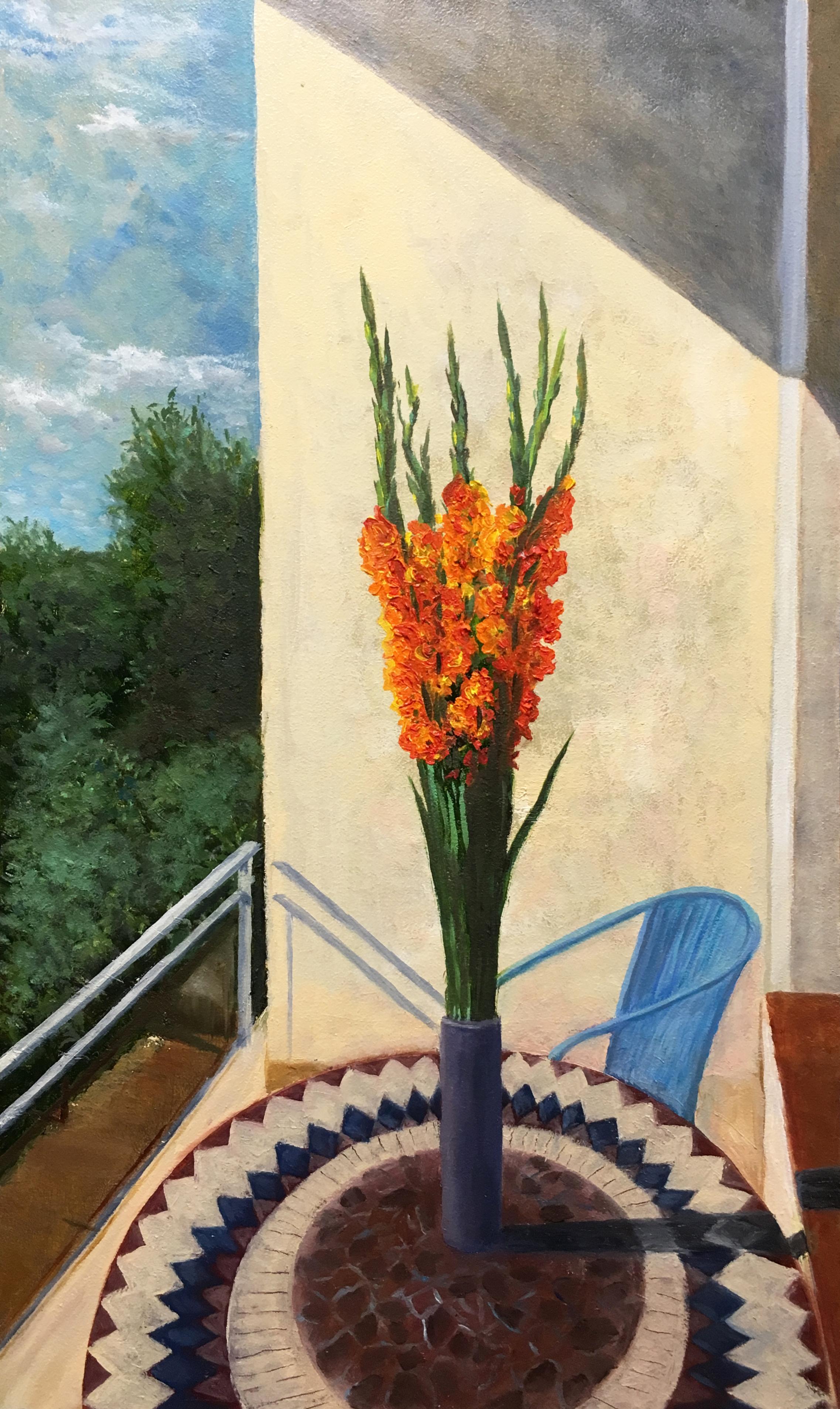Гладиолусы цветы букет пейзаж картина маслом художник Альберт Сафиуллин