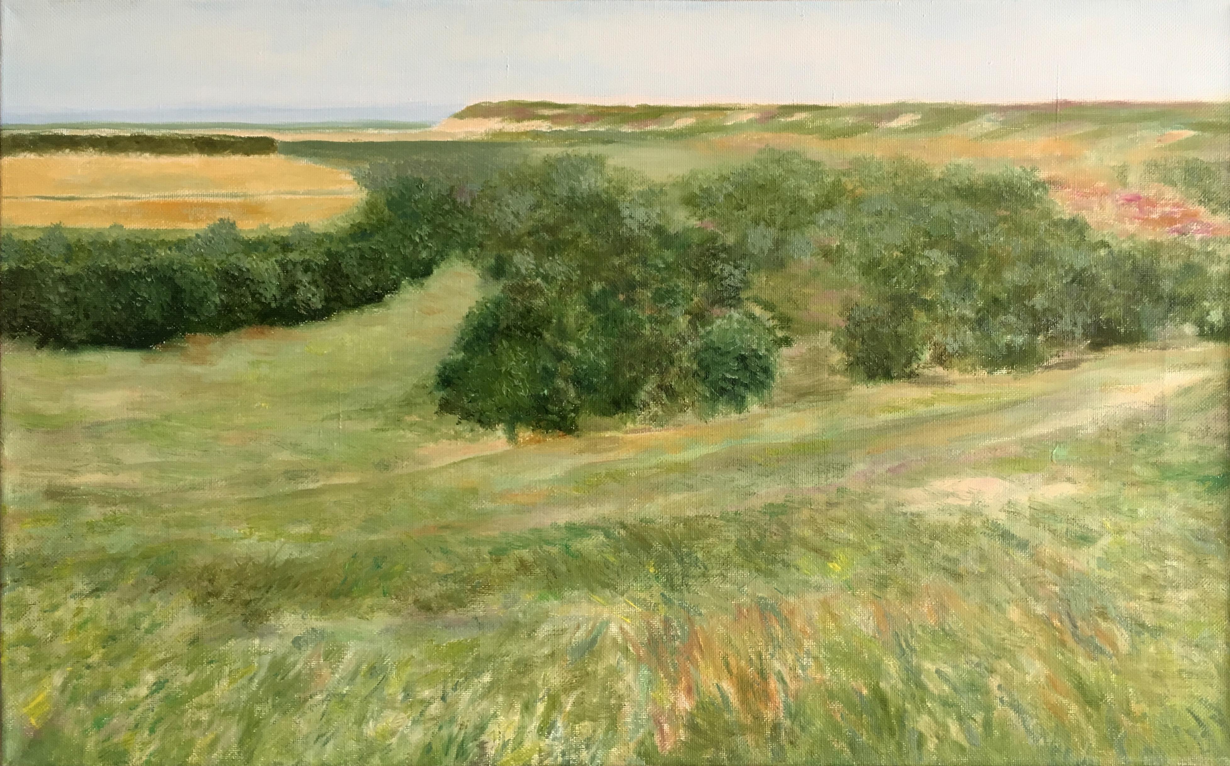 Пейзаж сельский Старое Барышево картина маслом художник Альберт Сафиуллин