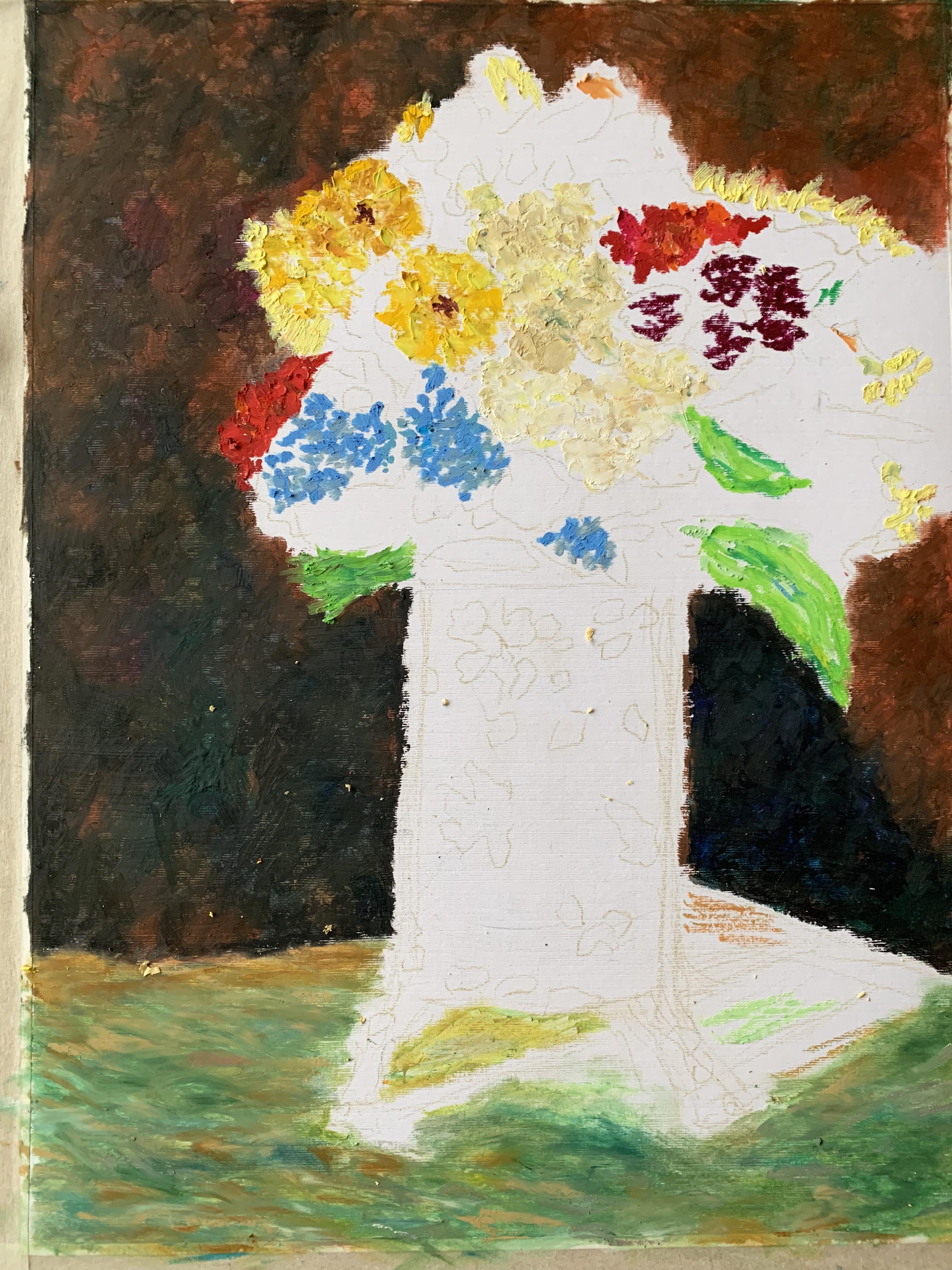 Цветы букет натюрморт масляная пастель рисунок Монтичелли Ван Гог картина художник Альберт Сафиуллин