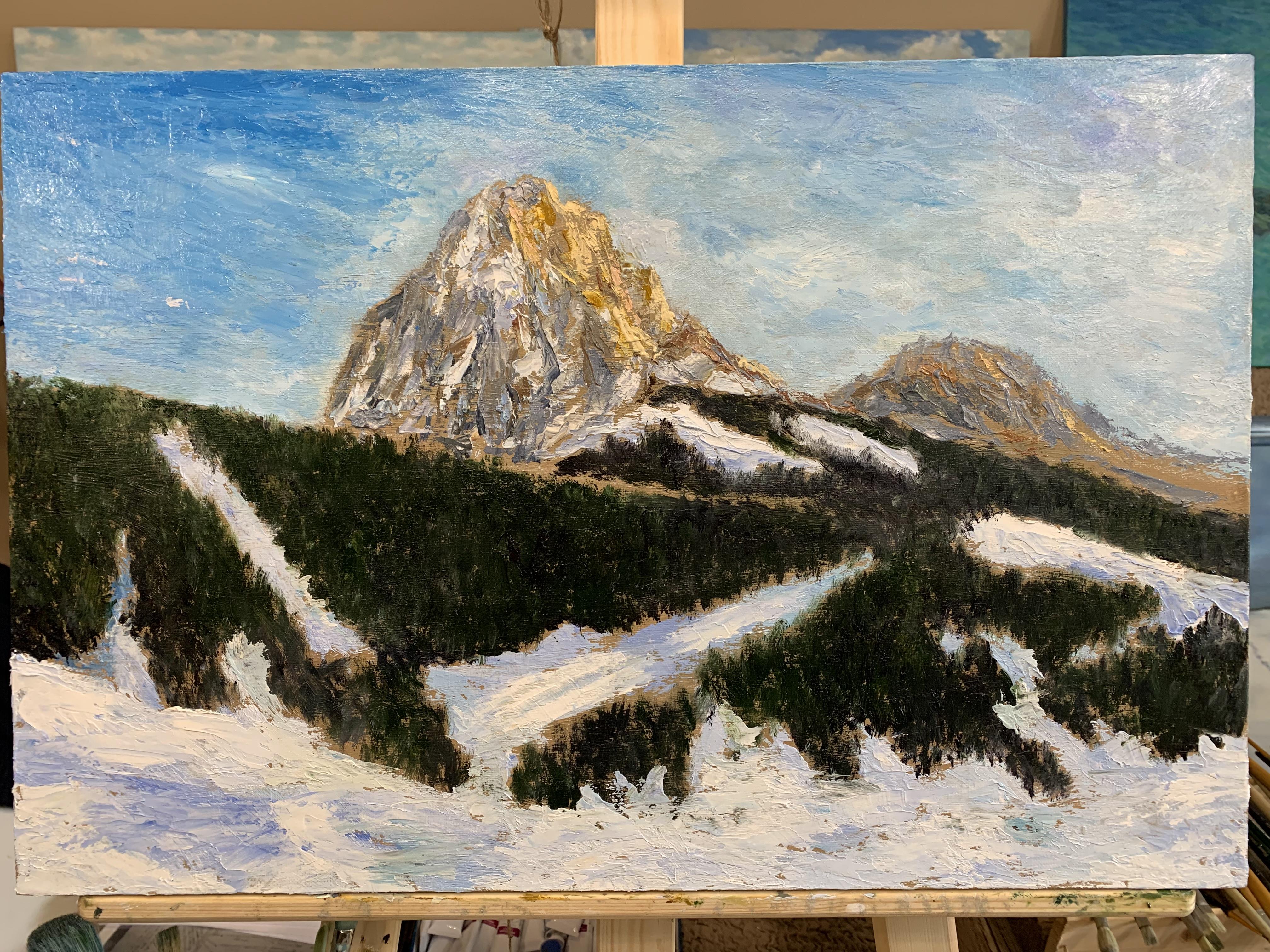 Горный пейзаж Sasso Lungo Вальгардена Доломиты Альпы картина маслом художник Альберт Сафиуллин