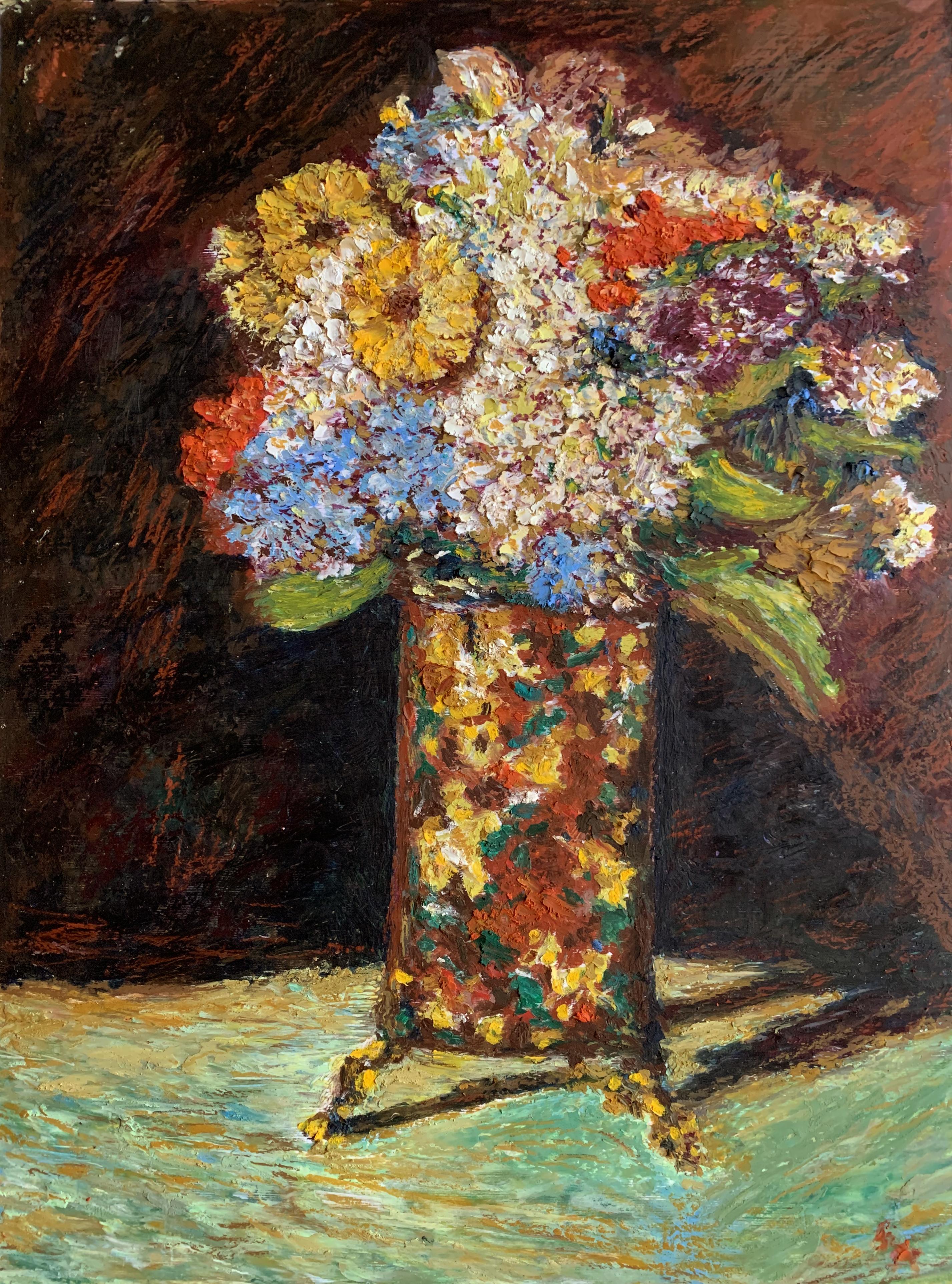 Картина натюрморт цветы букет Монтичелли масляная пастель художник Альберт Сафиуллин