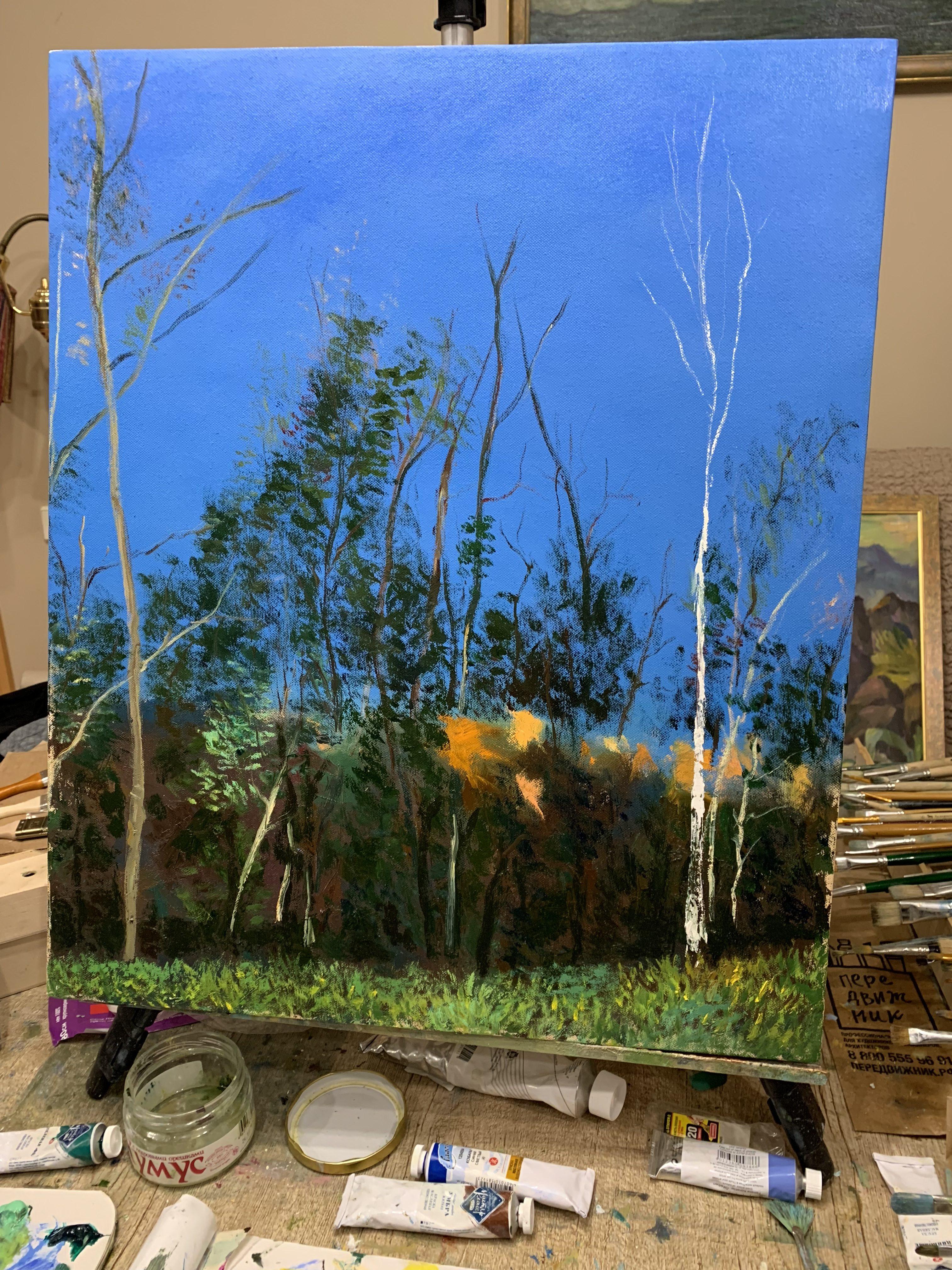 пейзаж осень лес Покровское Стрешнево деревья картина маслом художник Альберт Сафиуллин