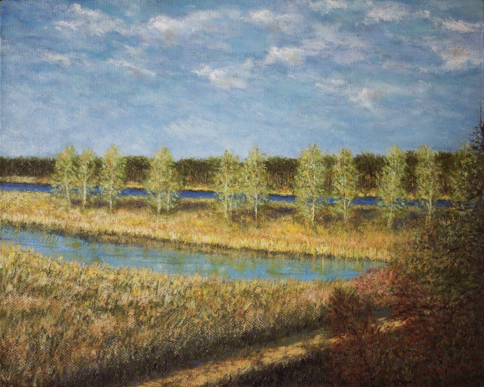 река пейзажи природы Лиелупе Lielupe картина маслом художник Альберт Сафиуллин