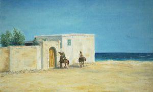 белое солнце пустыни таможня верещагин луспекаев картина маслом пейзажи природы художник Альберт Сафиуллин