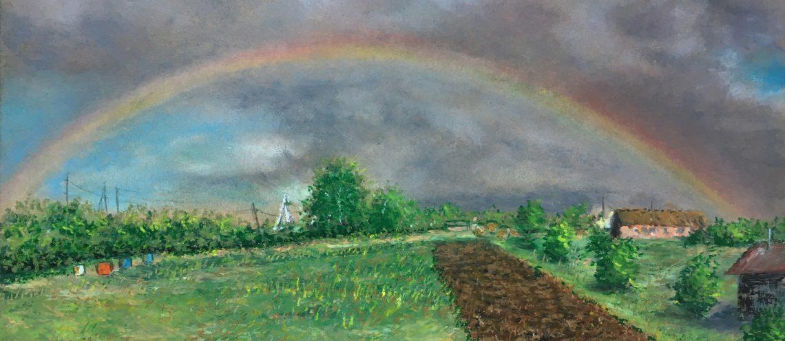 рисунок масляная пастель картина пейзаж художник Альберт Сафиуллин