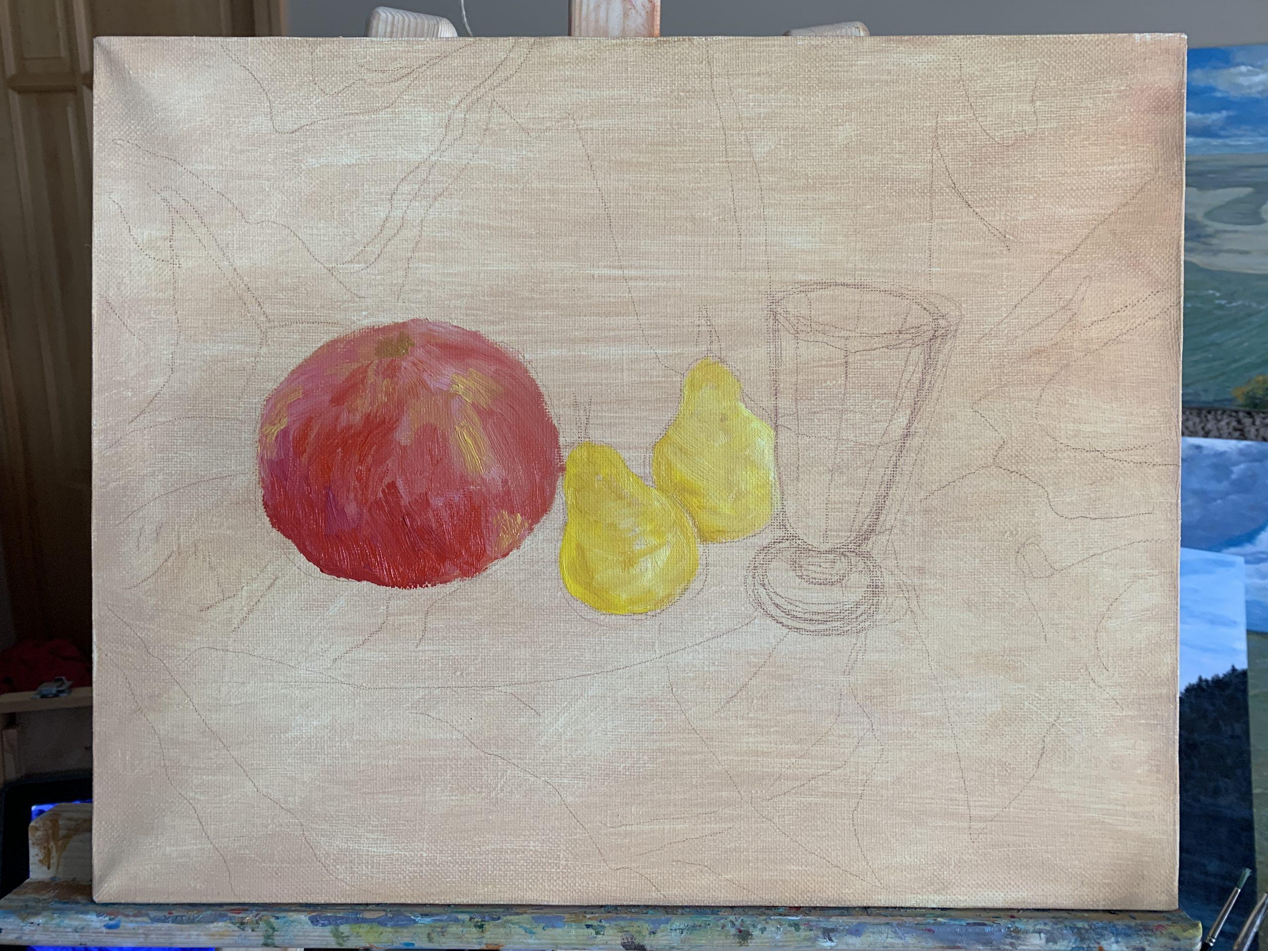 натюрморт картина фрукты бокал масло холст художник Альберт Сафиуллин