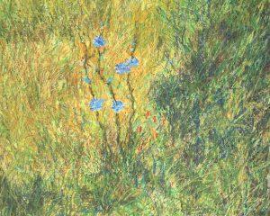 Цикорий Васильки цветы картина масляная пастель пейзажи природы Альберт Сафиуллин