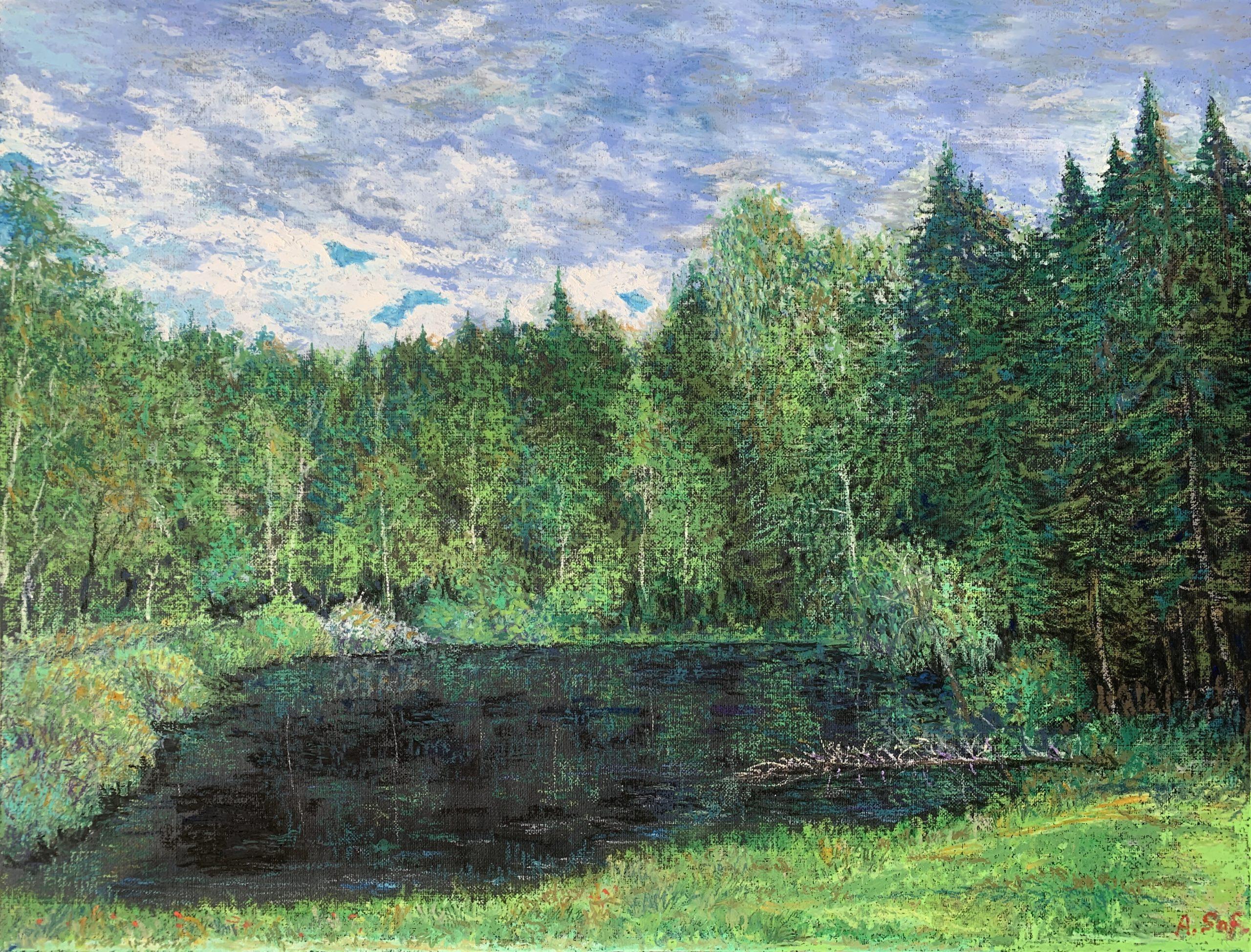прудик у дороги масляная пастель картина пейзажи природа художник Альберт Сафиуллин