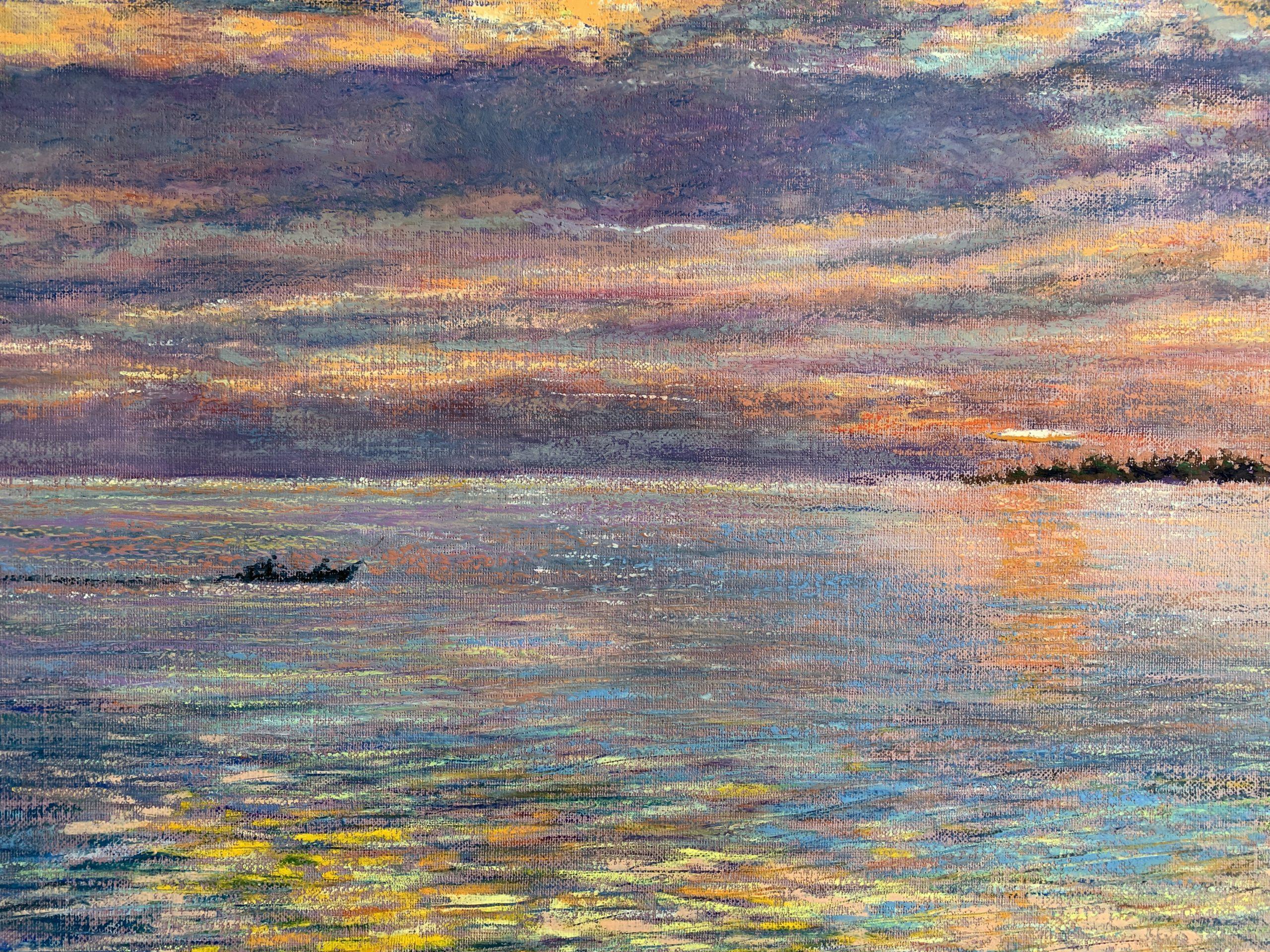 закат в океане картина масляная пастель пейзажи природы художник Альберт Сафиуллин