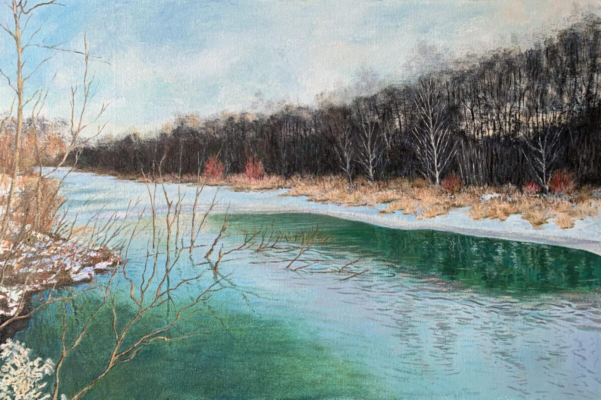 Река Химка пейзаж зима картина лед художник Альберт Сафиуллин