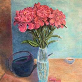 Букет пионов цветы картина художник натюрморт Альберт Сафиуллин
