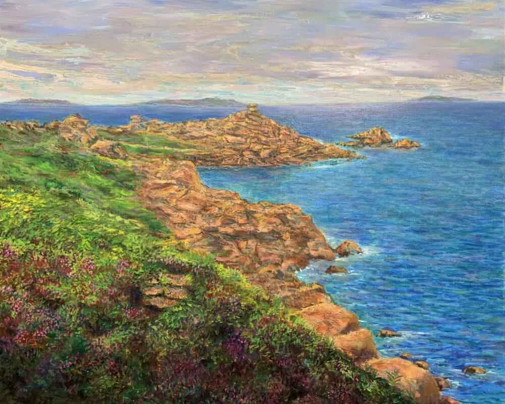 Бретань Перрос-Гирек скалы морской пейзаж картина художник Альберт Сафиуллин
