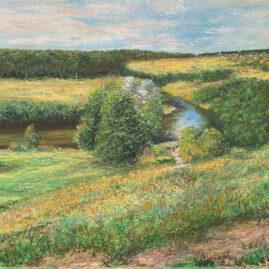 Река Протва деревня Ермолино картина пейзажи природы масляная пастель художник Альберт Сафиуллин