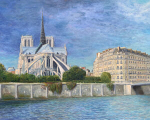 Собор Парижской богоматери пейзаж картина художник импрессионизм Альберт Сафиуллин