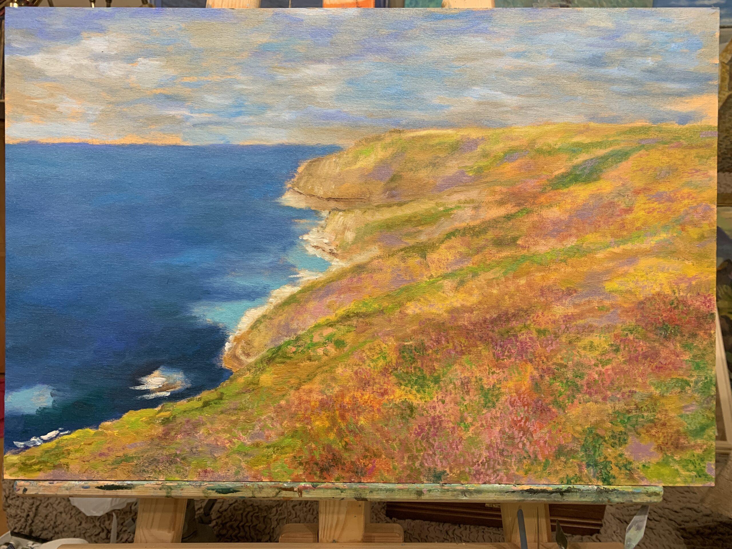 Бретань Cap Frehel море скалы небо пейзаж картина художник Альберт Сафиуллин