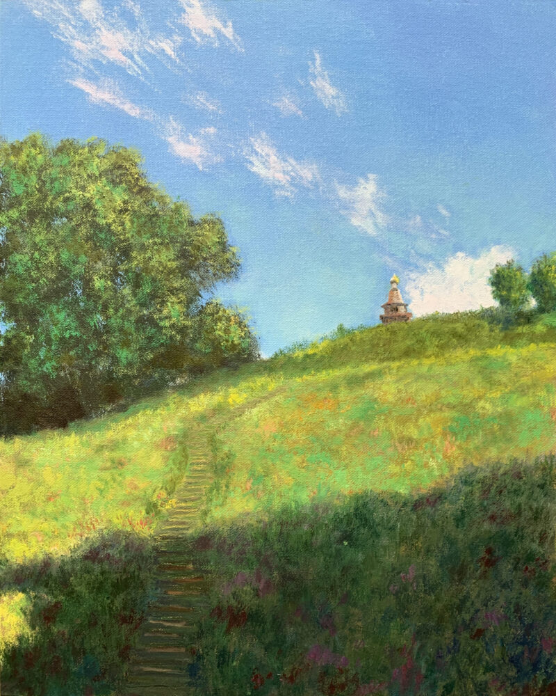 сельский пейзаж Ермолино картина масло природа лето художник Альберт Сафиуллин
