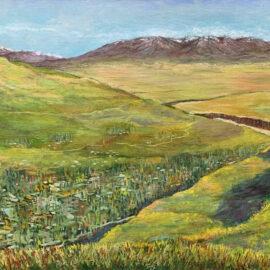 горный пейзаж Таджикистан Сафедчашма самсолик река сурхоб картина художник Альберт Сафиуллин